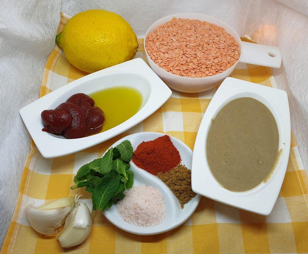 Sastojci za crveni humus od sočiva